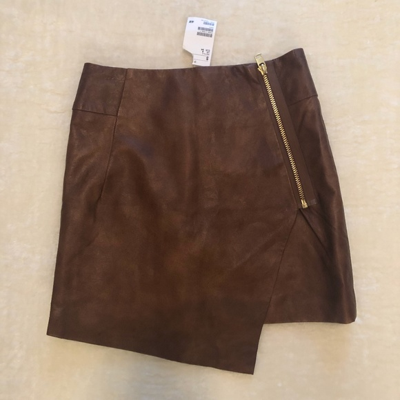 NWT H&M Brown Faux leather mini skirt